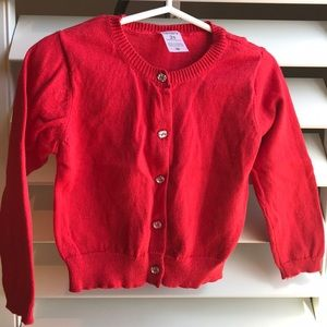Red jeweled button cardigan 2T